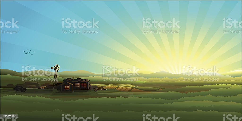Morning countryside panorama - farm, field and wind turbine royalty-free stock vector art