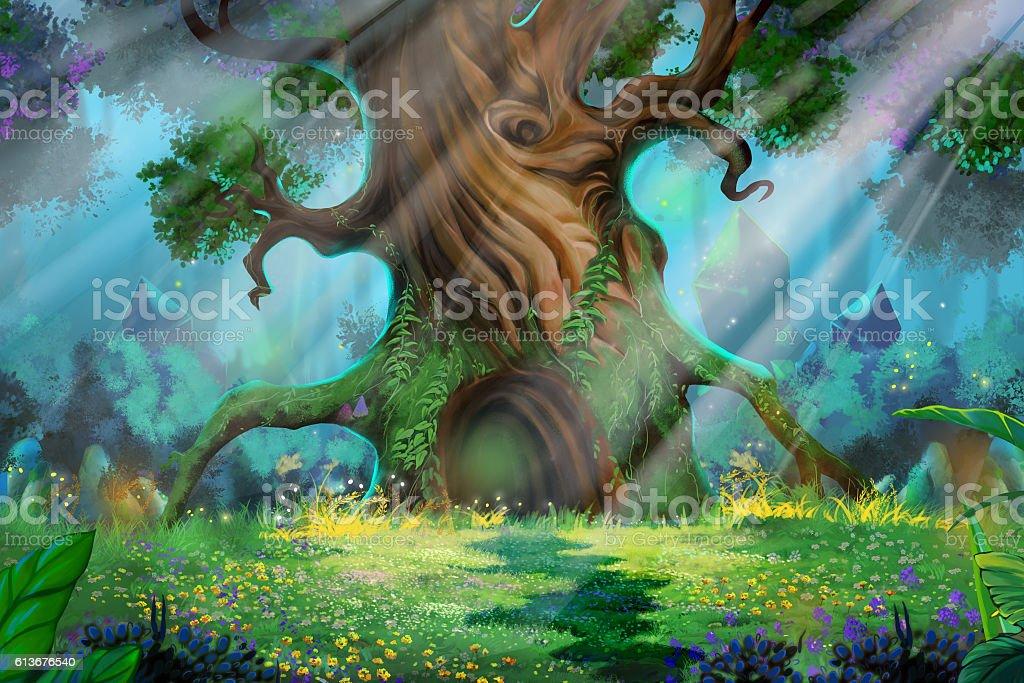 Morning Forest vector art illustration