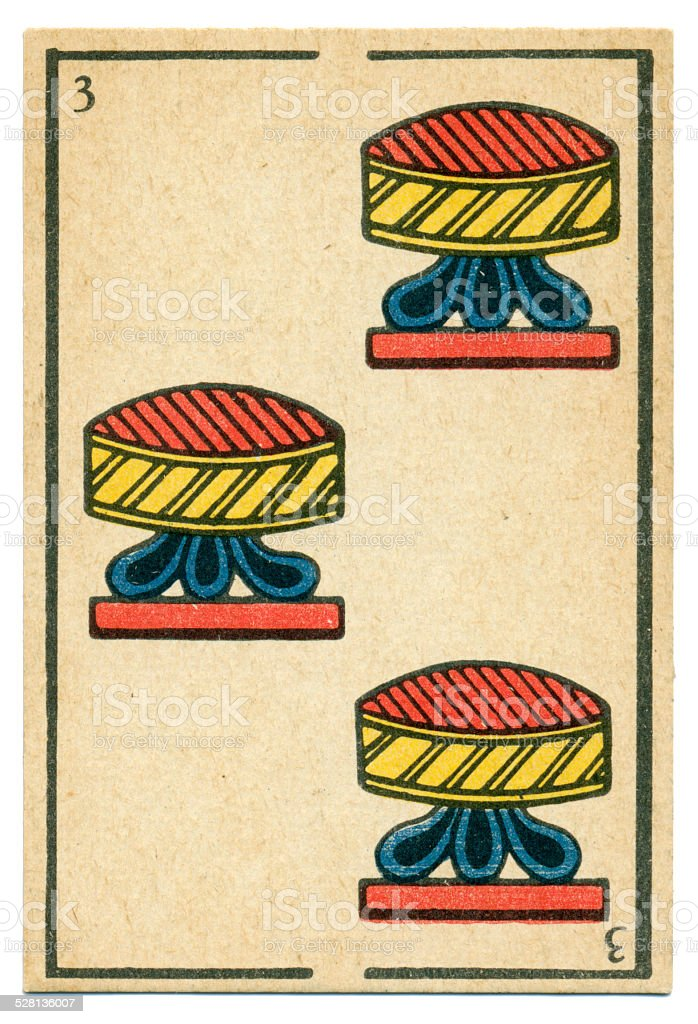 Moroccan playing card baraja 1890 Three of Cups Hearts vector art illustration