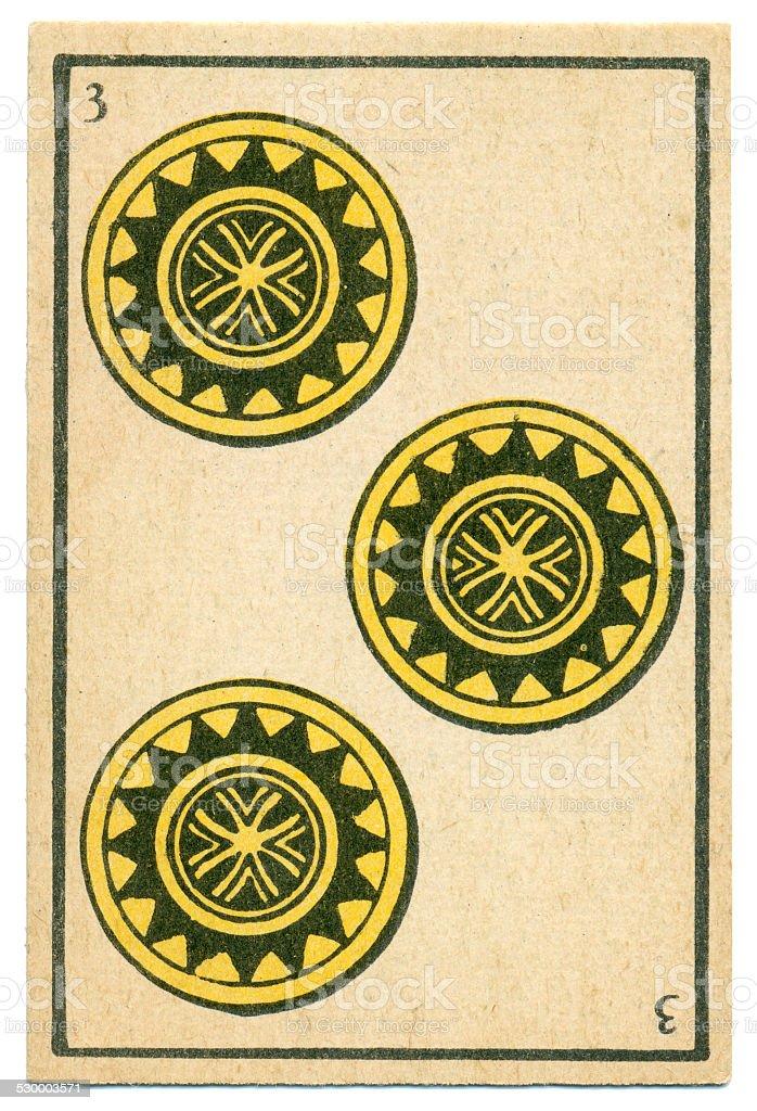 Moroccan playing card baraja 1890 Three of Diamonds Oros coins vector art illustration