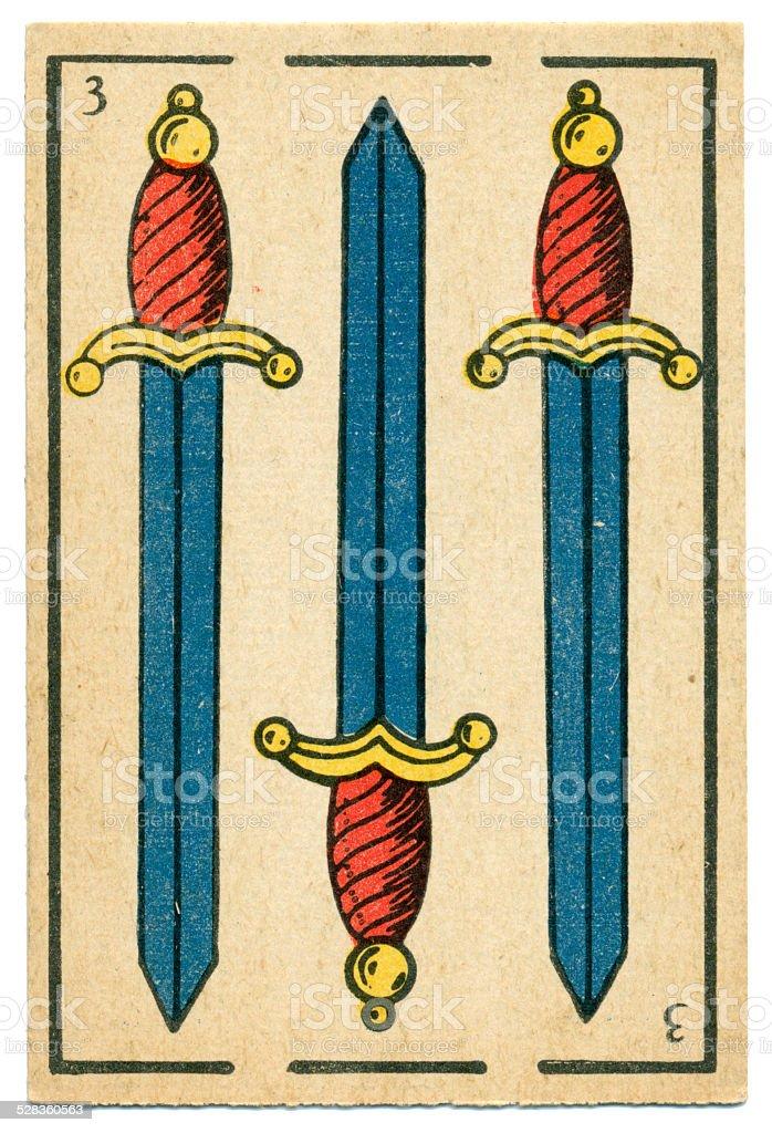 Moroccan playing card baraja 1890 Three of Spades Espadas Swords vector art illustration