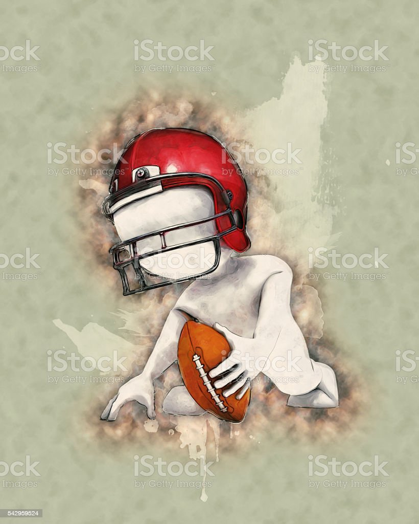 Morph Man playing american football with watercolor effect stock photo