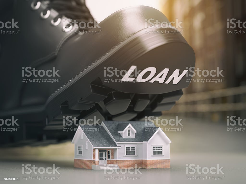 Mortgage house loan crisis concept. Foreclosure and repossession vector art illustration