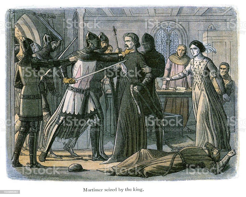Mortimer seized by King Edward III vector art illustration