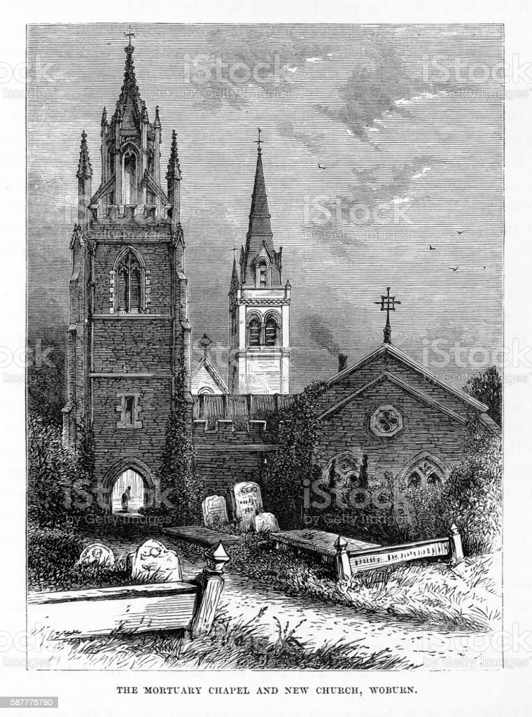Mortuary Chapel and Church, Woburn, England Victorian Engraving, Circa 1840 vector art illustration
