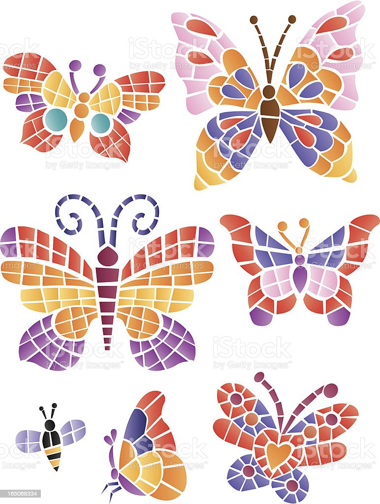 Mosaic butterflys royalty-free stock vector art