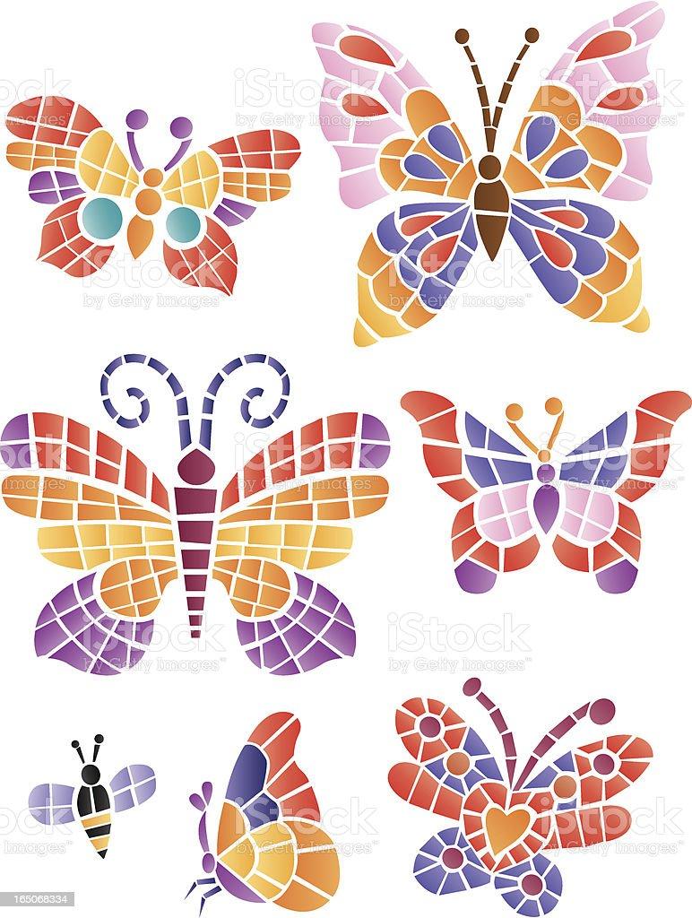 Mosaic butterflys vector art illustration