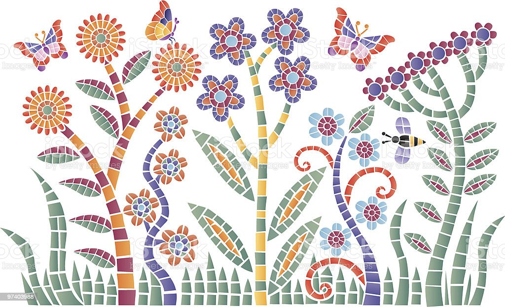 Mosaic garden vector art illustration