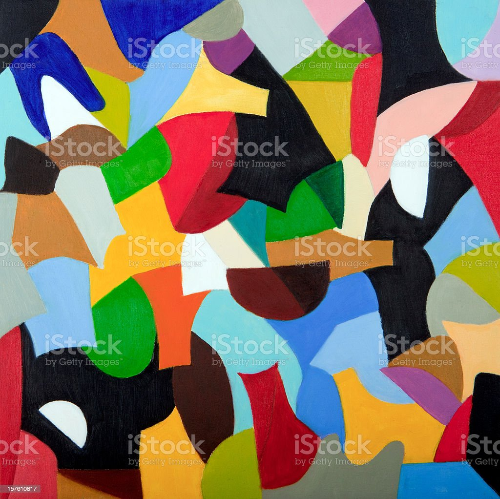 Mosaic of colors combined in geometric shapes (oil painting) vector art illustration