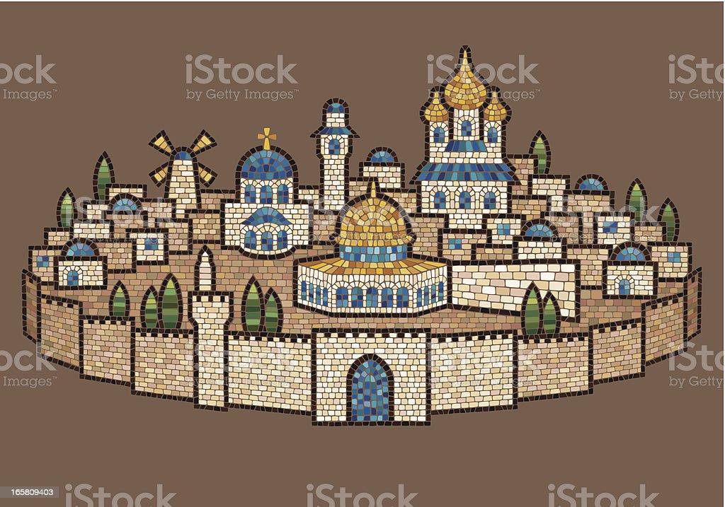 Mosaic of Jerusalem vector art illustration