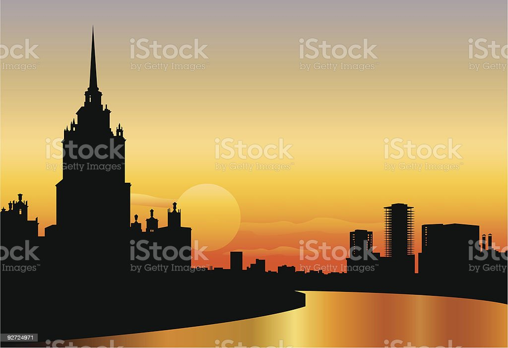 moscow silhouette skyline sunset royalty-free stock vector art