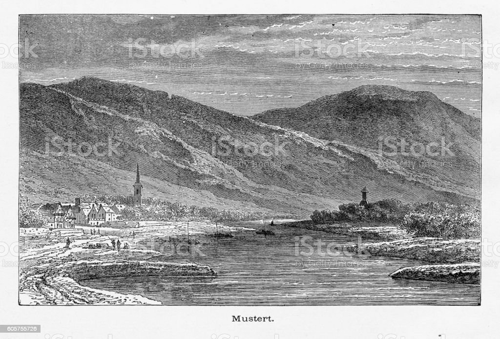Moselle River and Minheim (Mustert), Germany, Circa 1887 vector art illustration