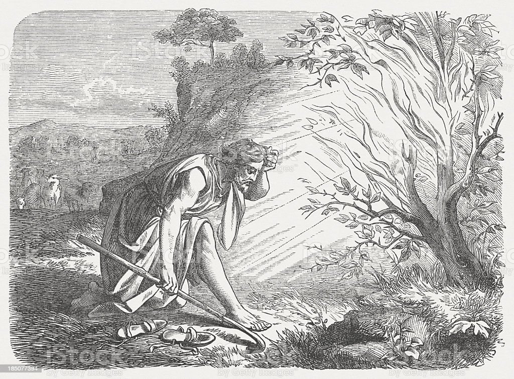 Moses and the burning bush (Exodus 3, 1-5), published 1877 vector art illustration