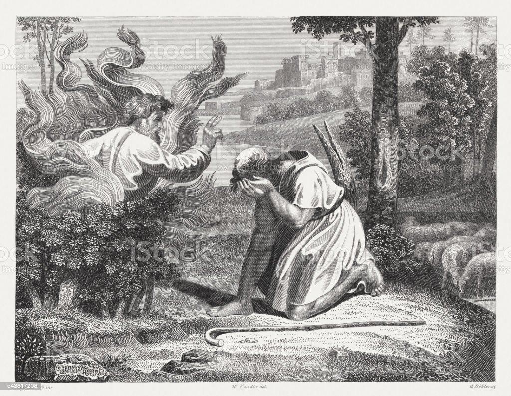 Moses and the burning bush (Exodus 3), published in 1841 vector art illustration