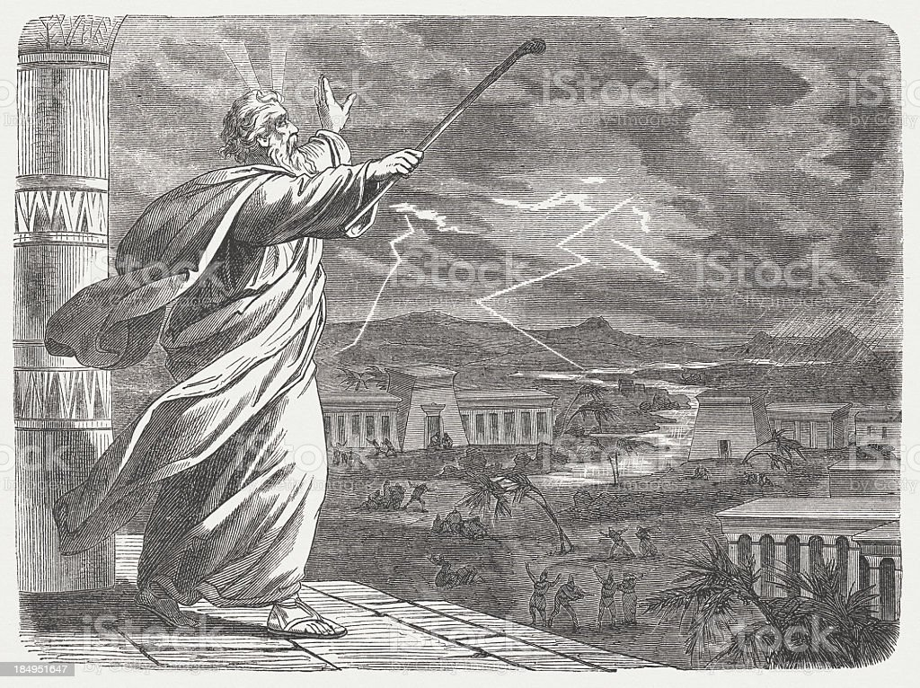 Moses and the Seventh Blow (Exodus 9, 22-26), published 1877 vector art illustration