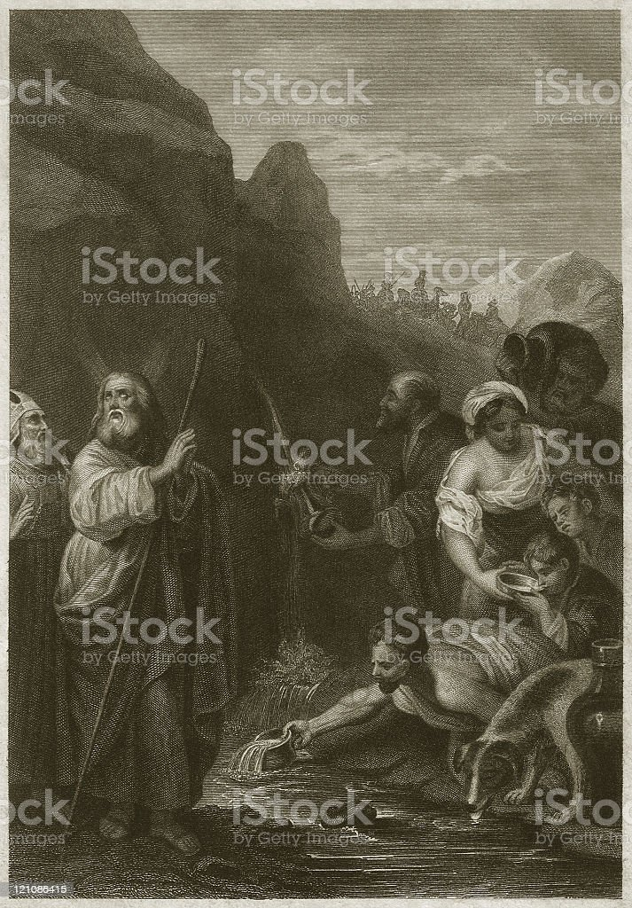 Moses and the water from the rock of Horeb royalty-free stock vector art