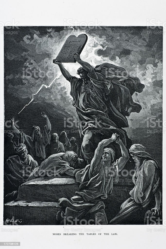 Moses breaking tables of the law vector art illustration