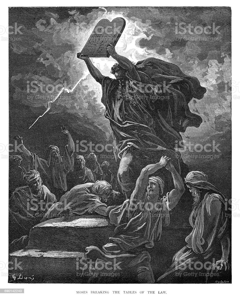 Moses breaking the tables of Law 1870 vector art illustration