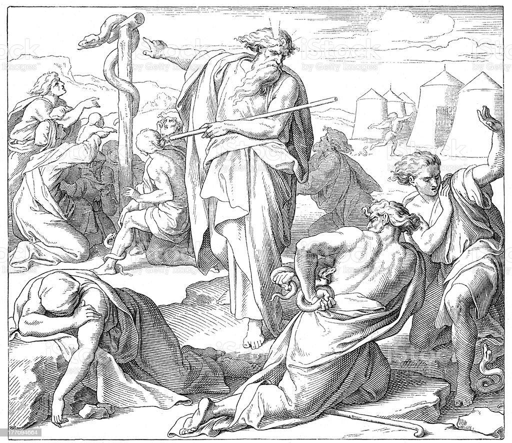 Moses building bronze Serpent royalty-free stock vector art