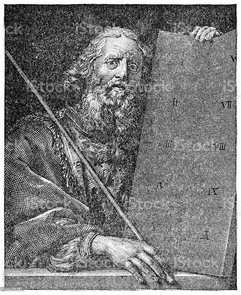 Moses engraving 1894 vector art illustration