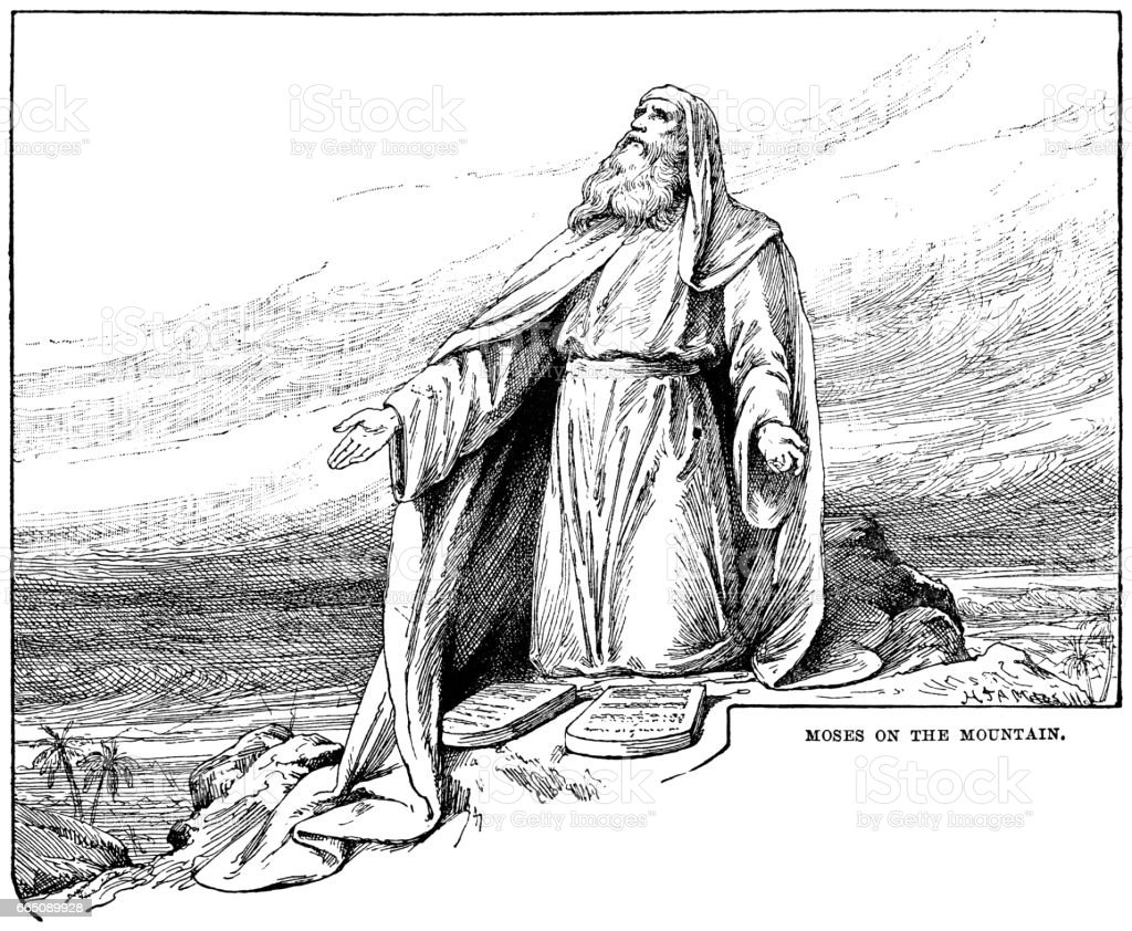 Moses on the mountain (Victorian engraving) vector art illustration