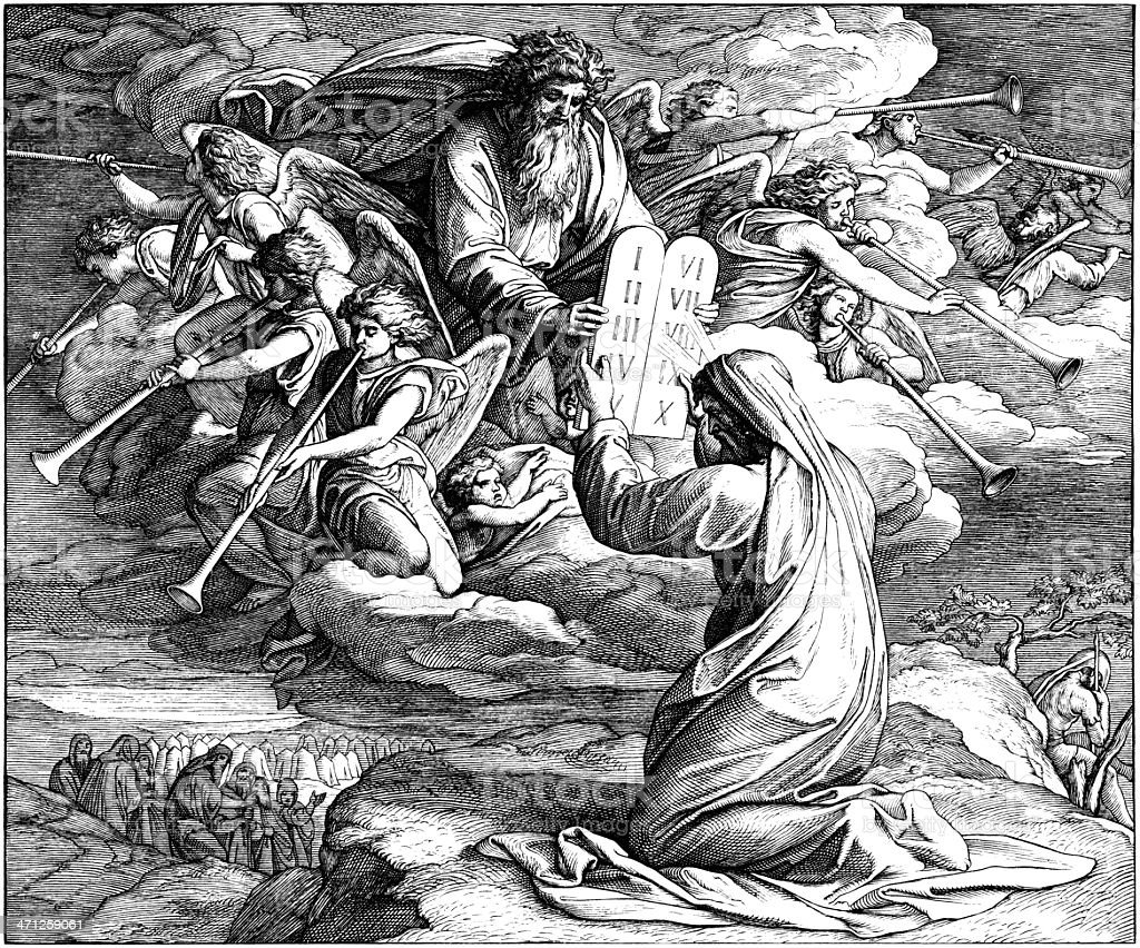 Moses Receives 10 Commandments royalty-free stock vector art