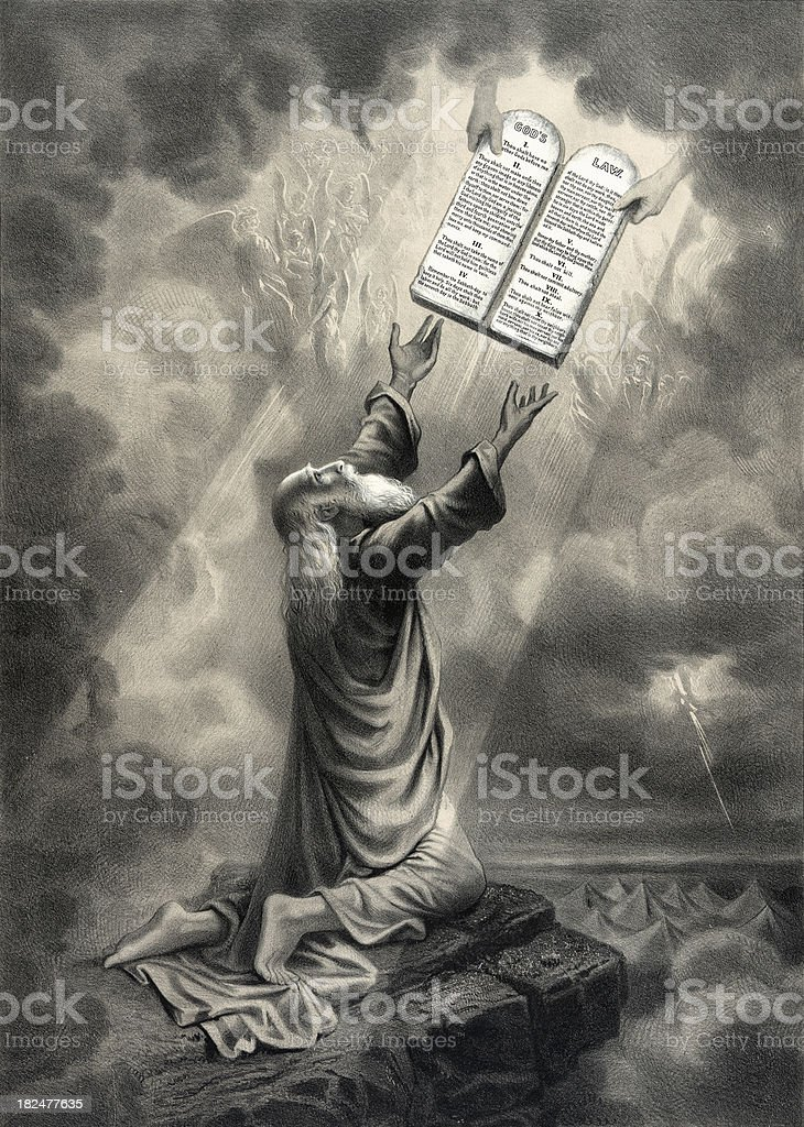 Moses Receives the Law vector art illustration