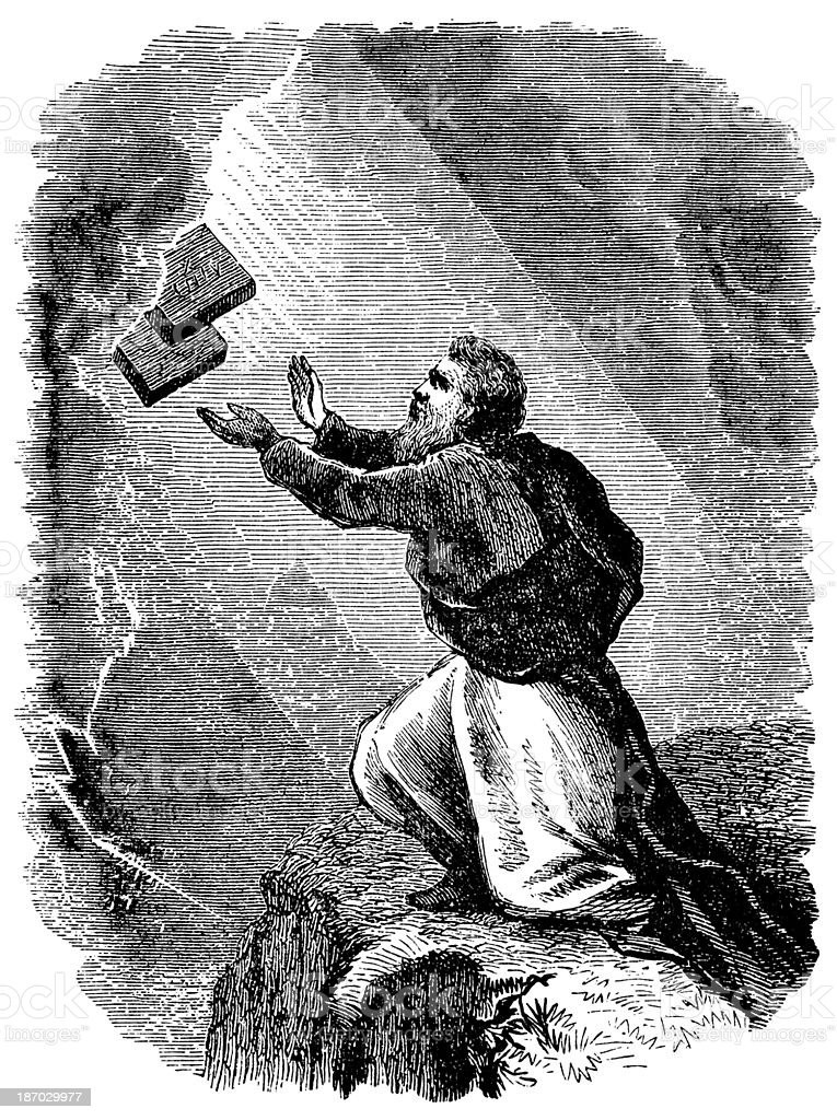 Moses Receiving The Law vector art illustration