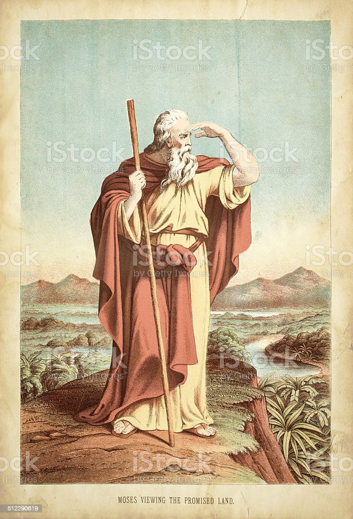 Moses viewing the promised land engraving vector art illustration
