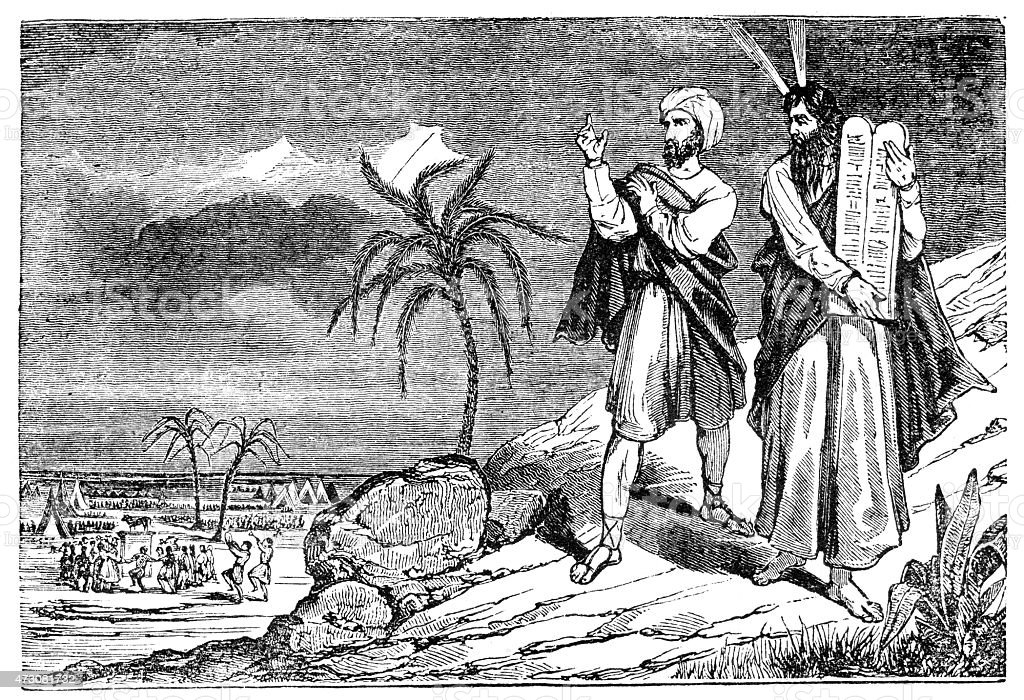 Moses with ten commandments on Mount Sinai vector art illustration