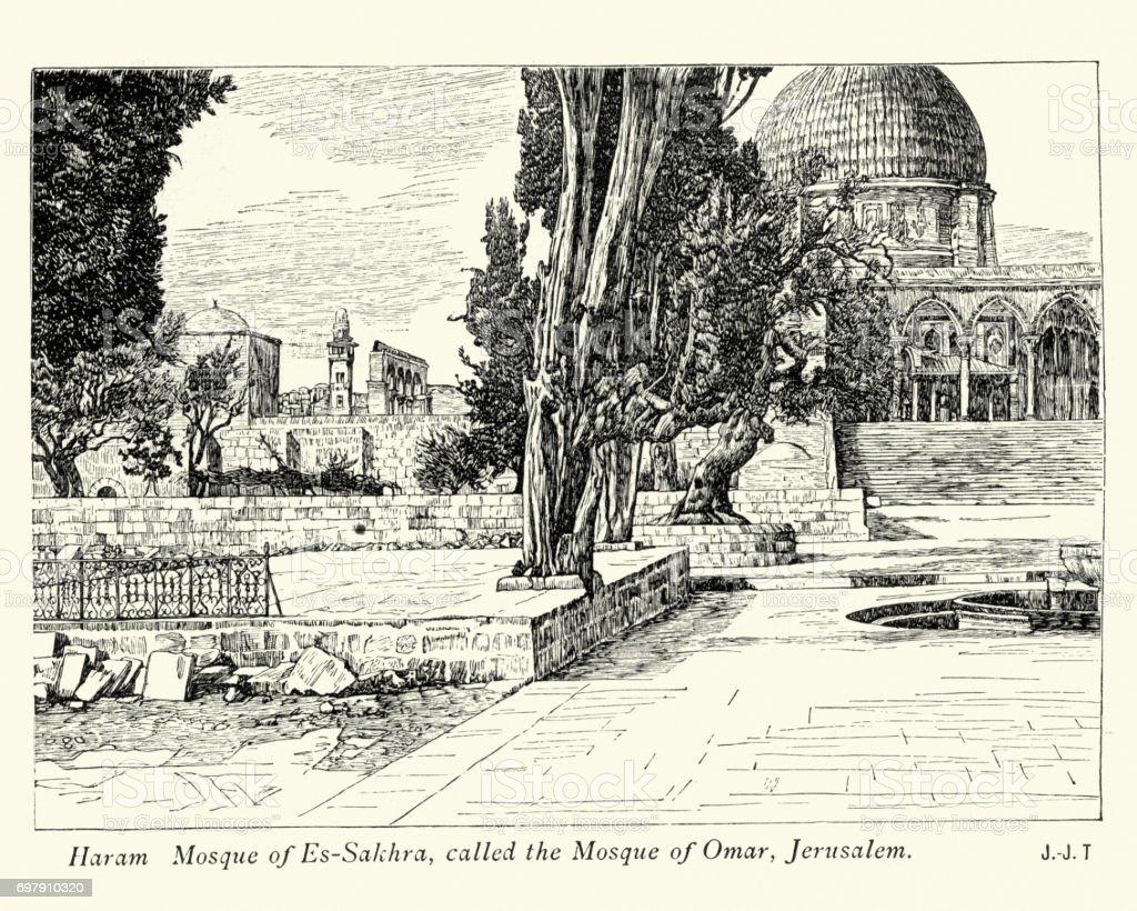 Mosque of Omar (Jerusalem), 19th Century vector art illustration