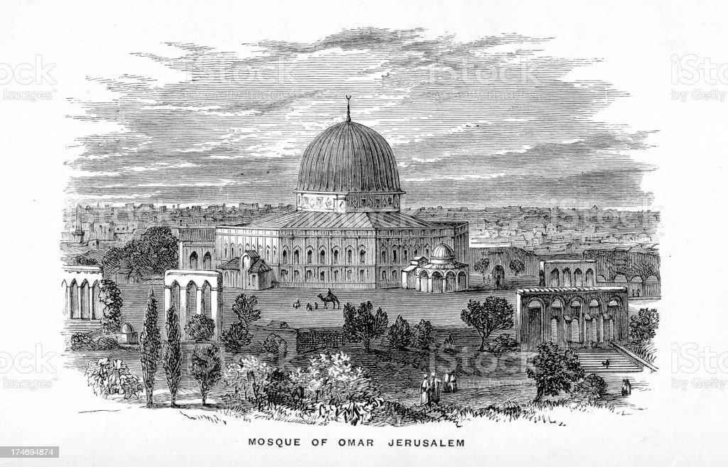 Mosque of Omar Jerusalem vector art illustration