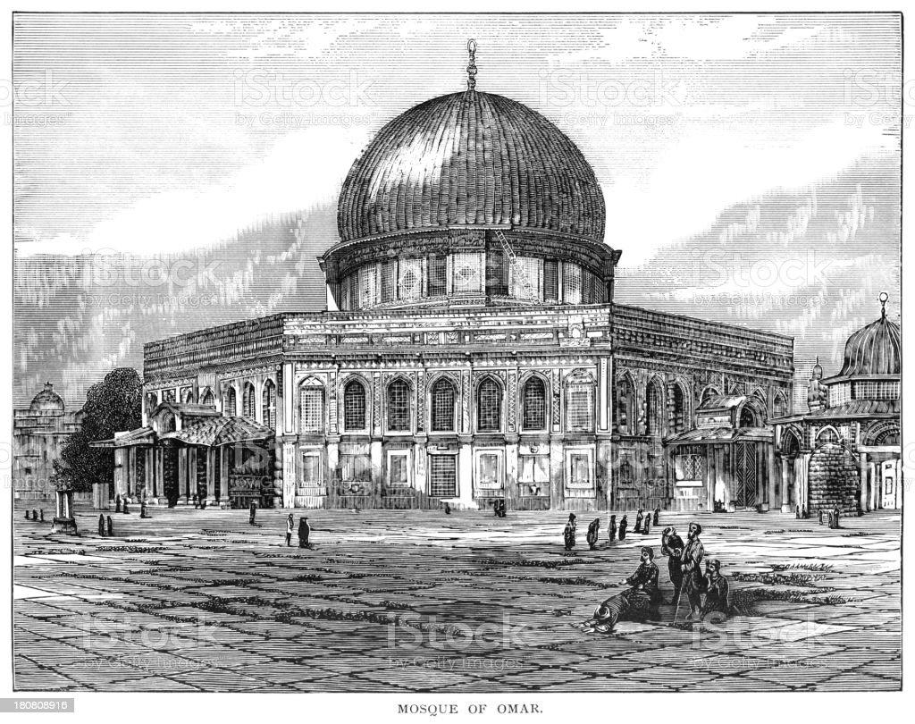 Mosque of Omar, Jerusalem vector art illustration