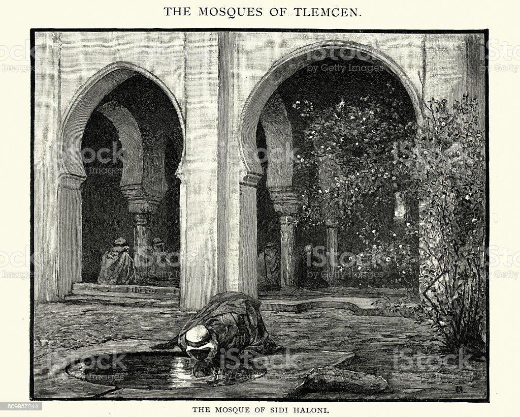 Mosque of Sidi Haloni, 1892 vector art illustration