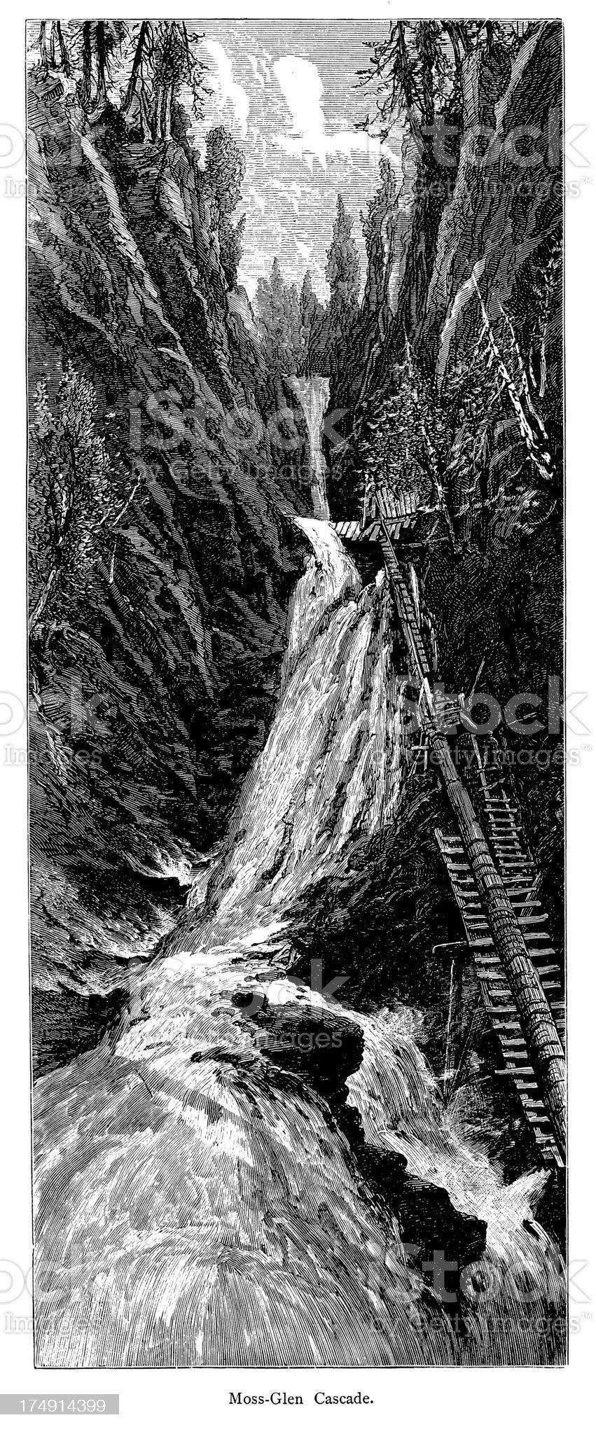 Moss Glen Falls, Granville, Vermont royalty-free stock vector art