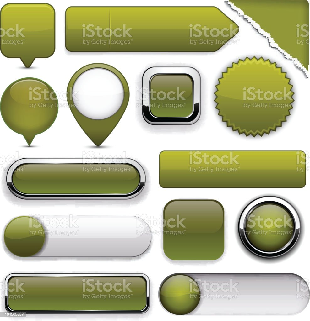 Mossy high-detailed modern buttons. royalty-free stock vector art
