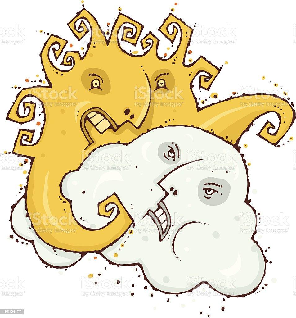 Mostly Sunny vector art illustration