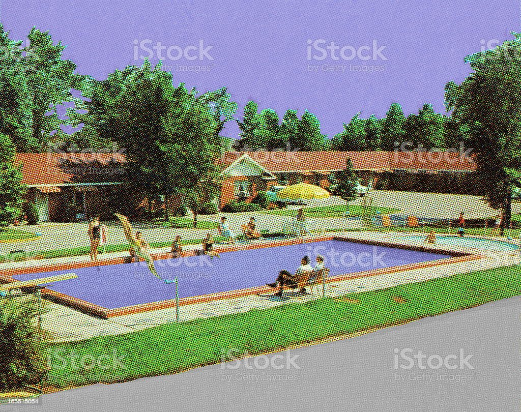 Motel Swimming Pool royalty-free stock vector art