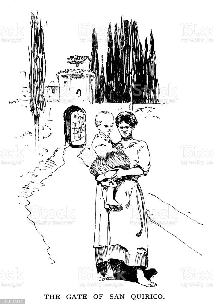 Mother and child at the gate of San Quirico d'Orcia vector art illustration
