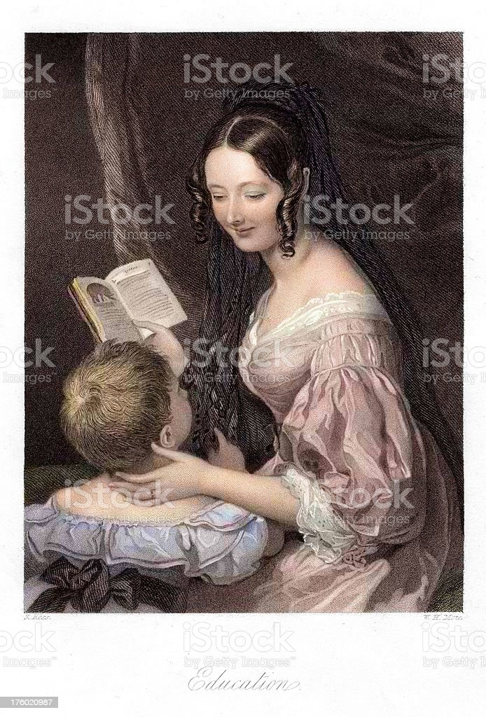 Mother and Child - Education vector art illustration