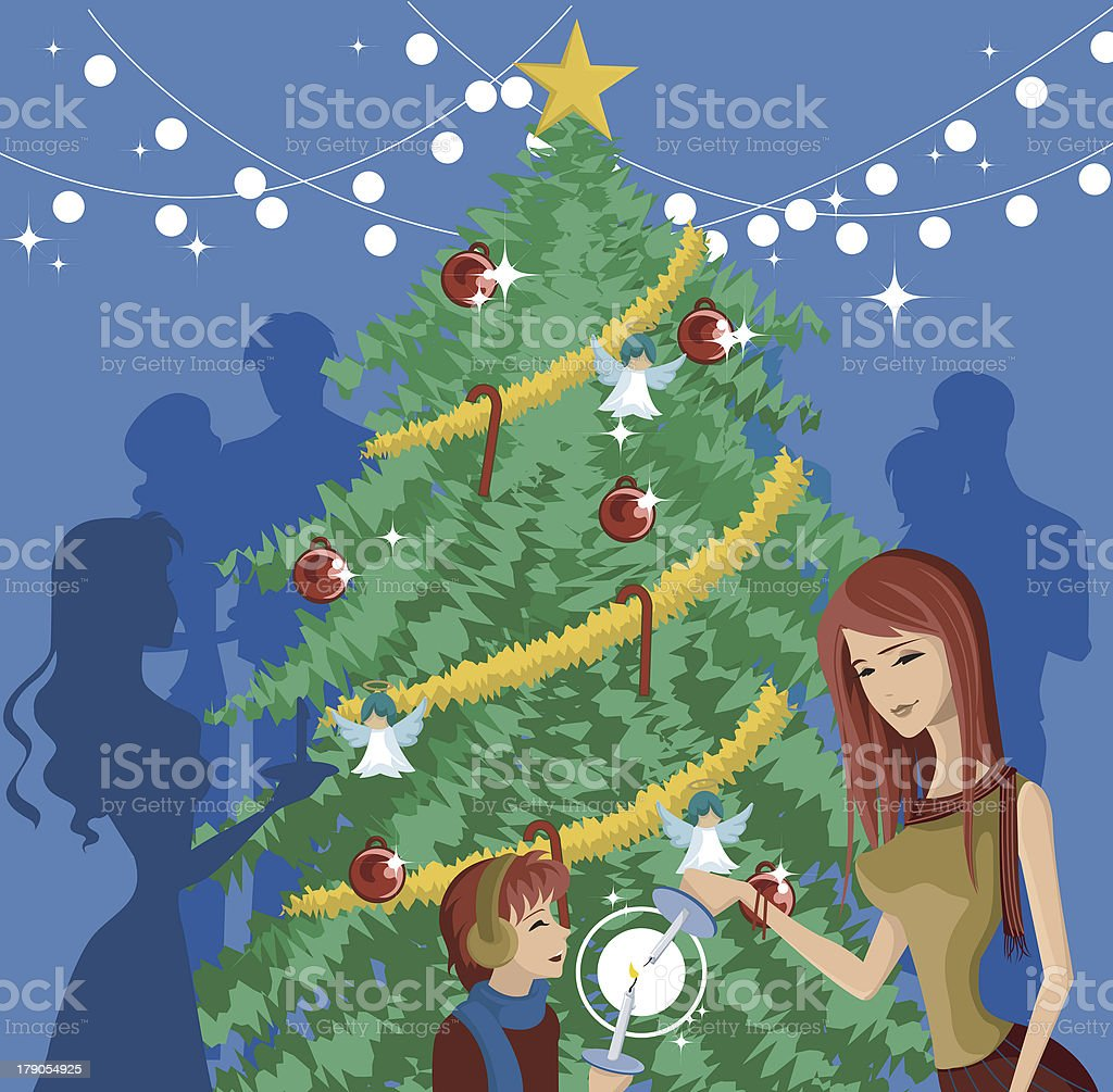 mother and child lighting candles royalty-free stock vector art
