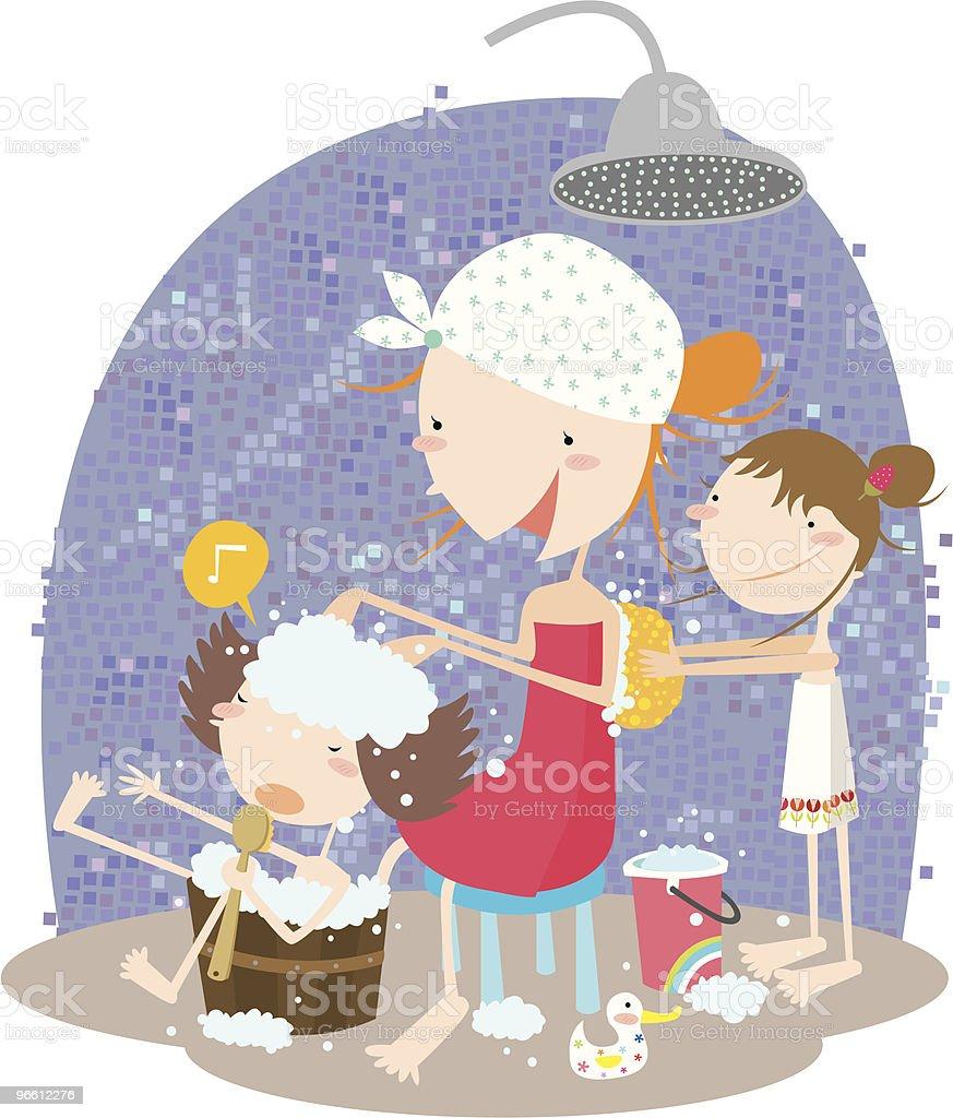 Mother and Children Scrubbing Backs in Shower vector art illustration