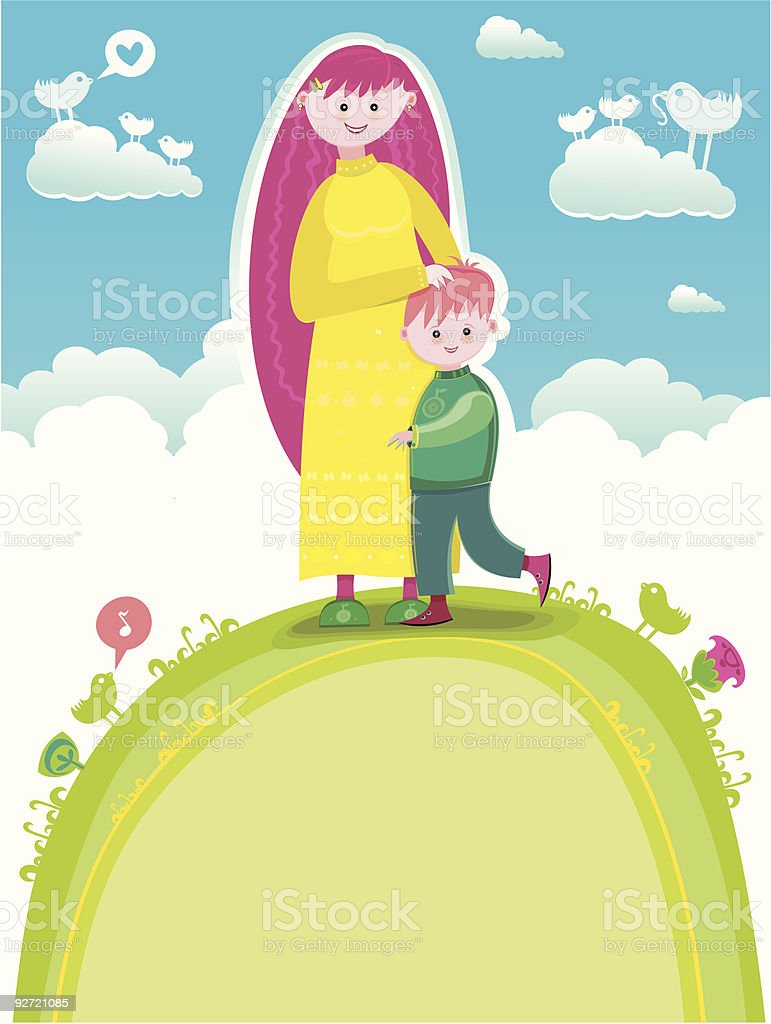 Mother and Son in a sunny day royalty-free stock vector art