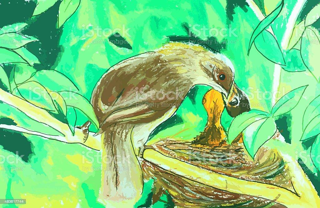 mother bird feeding her baby painting background vector art illustration
