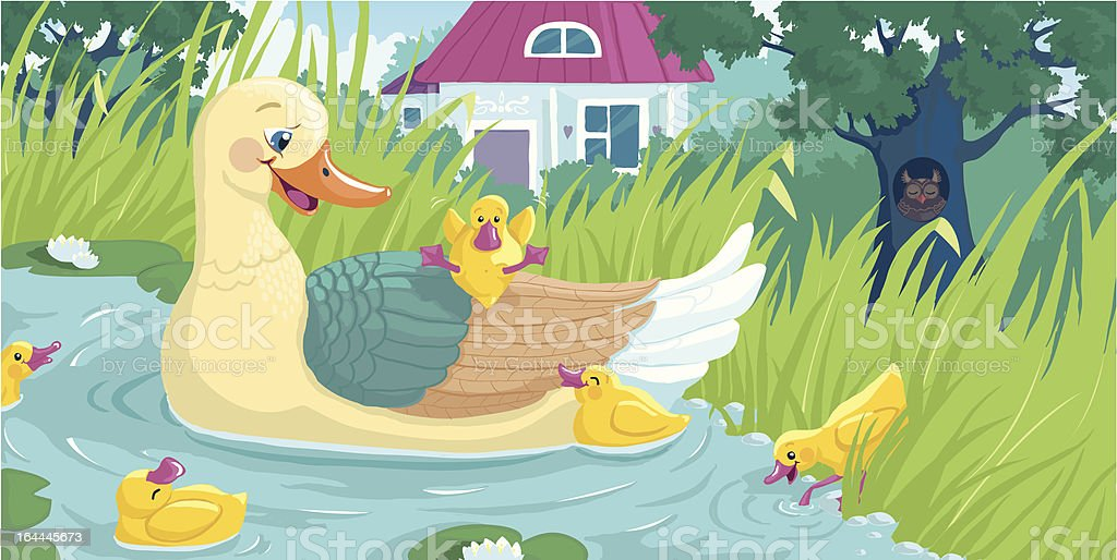 Mother Duck and Ducklings Swimming royalty-free stock vector art