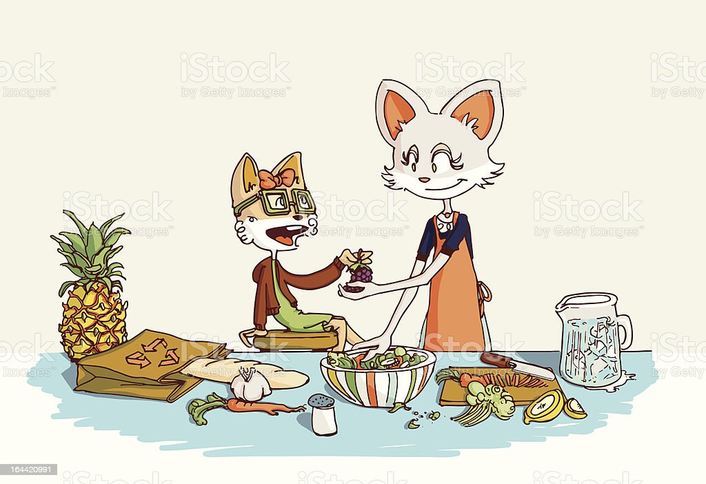 Mother Fox  and Daughter Cooking royalty-free stock vector art