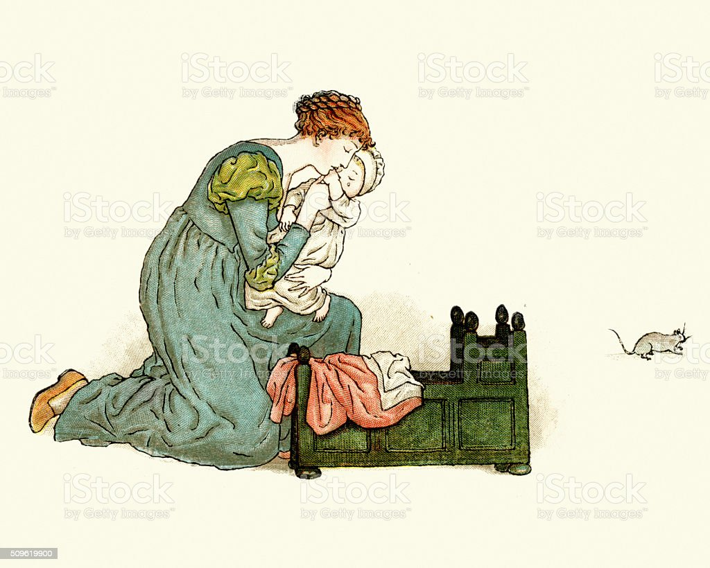 Mother protecting her baby from a rat vector art illustration