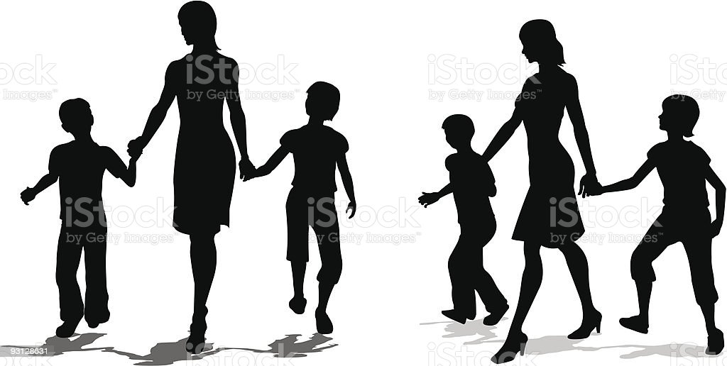 mother with children silhouette vector art illustration