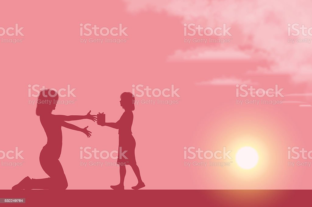 Mother's Day background[Mother and her daughter silhouette] vector art illustration