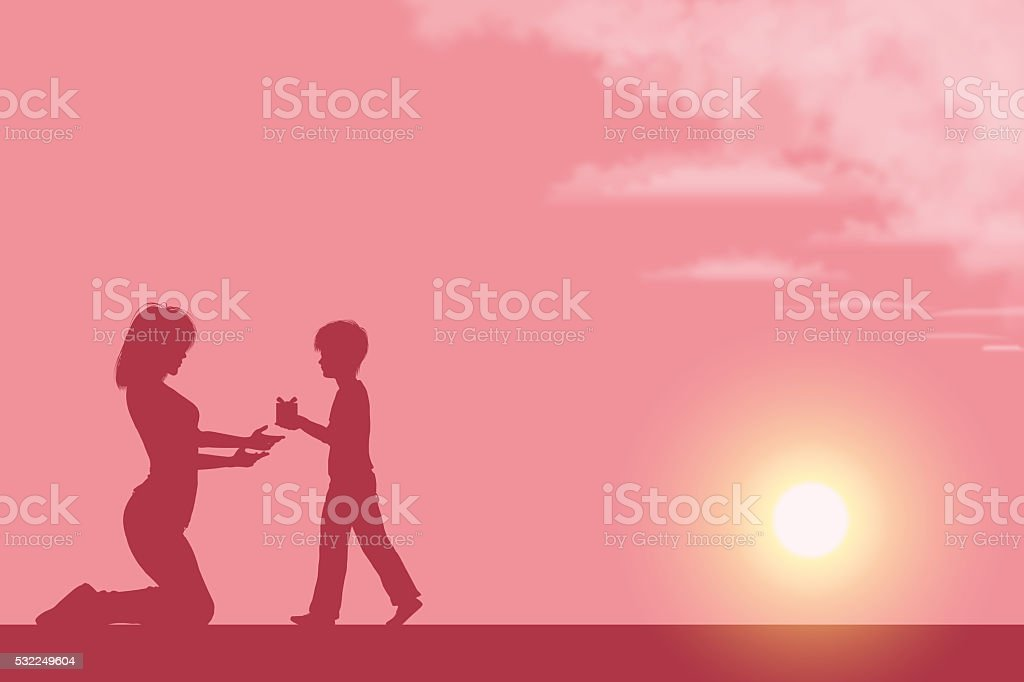 Mother's Day background[Mother and her son silhouette] vector art illustration